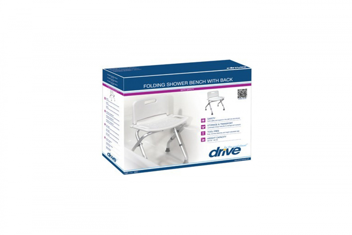 Folding Shower Chair with Back, Retail Packaging