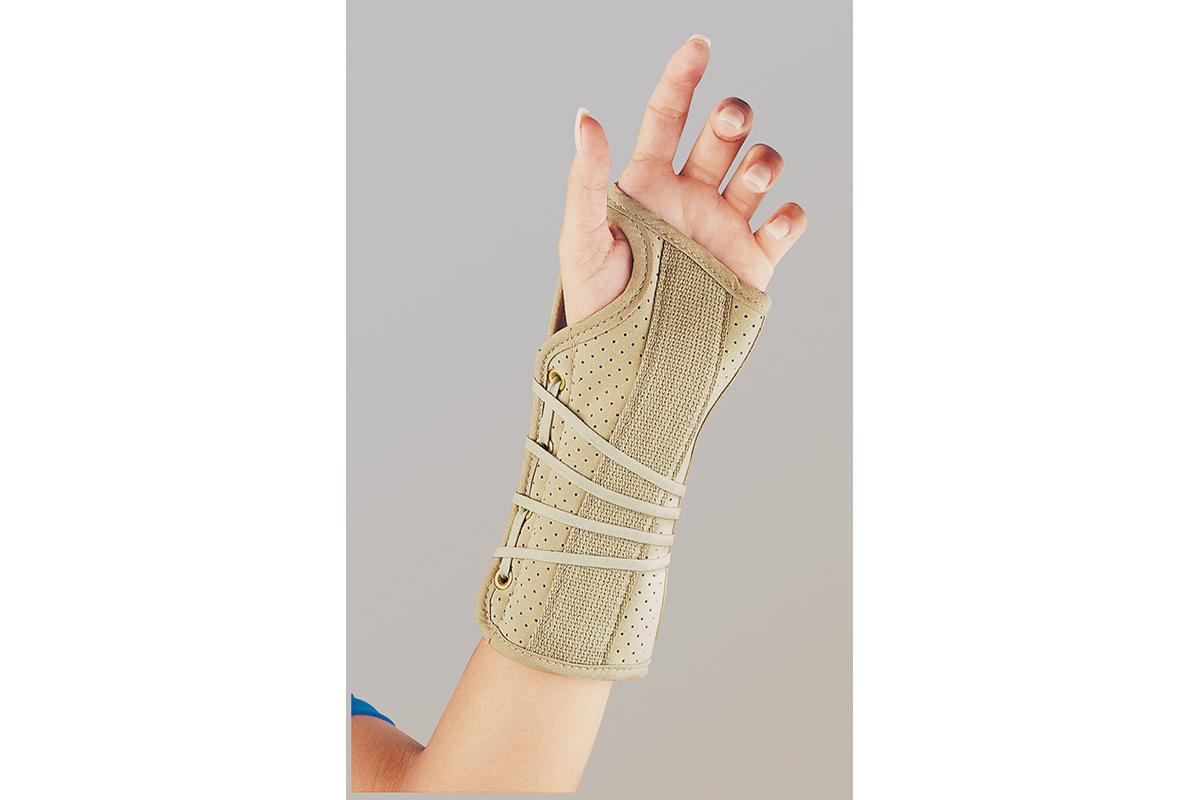 Soft Fit Suede Finish Wrist Brace - Left, Beige, Small