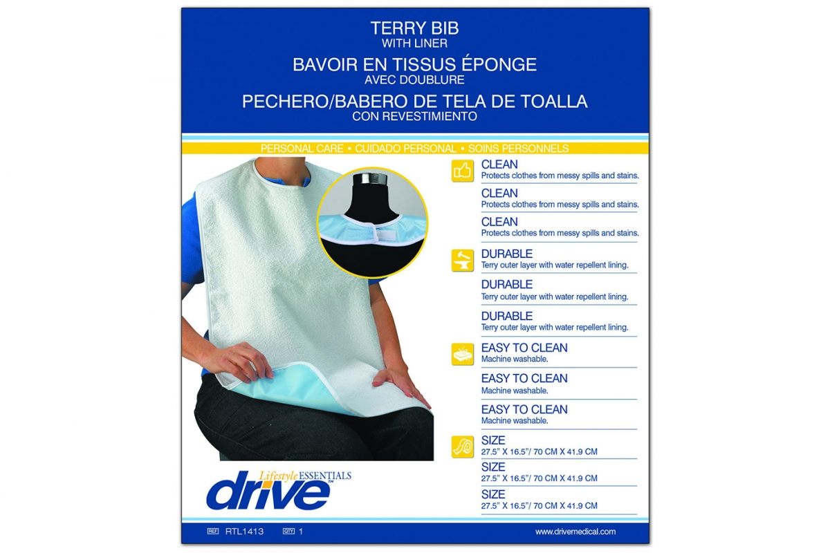 Terry Bib with Liner, Retail Package